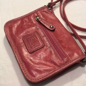 Fossil Pink Leather Crossbody Bag